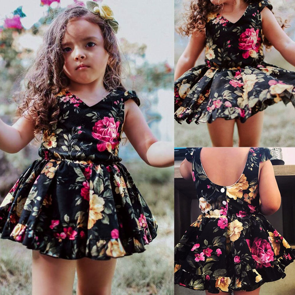 Toddler Kids Baby Girl Floral Dress Sleeveless Princess Dresses Clothes