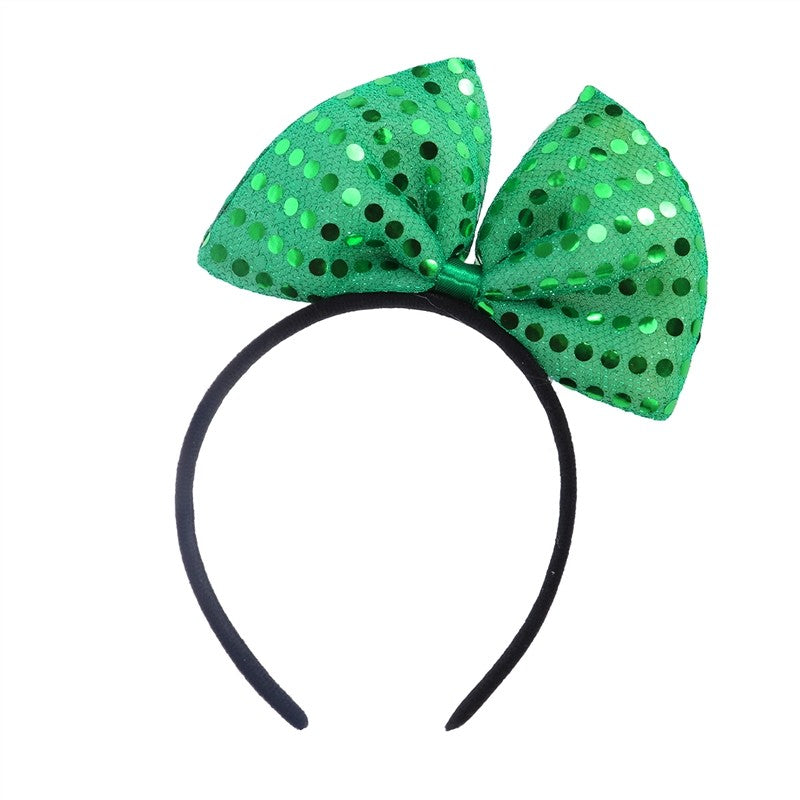 Handmade Bowknot Headband Headwear with Green Sequins for Festival (Green)