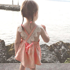 Children Kid Girls Lace Embroidery Strap Backless Princess Dress Clothes