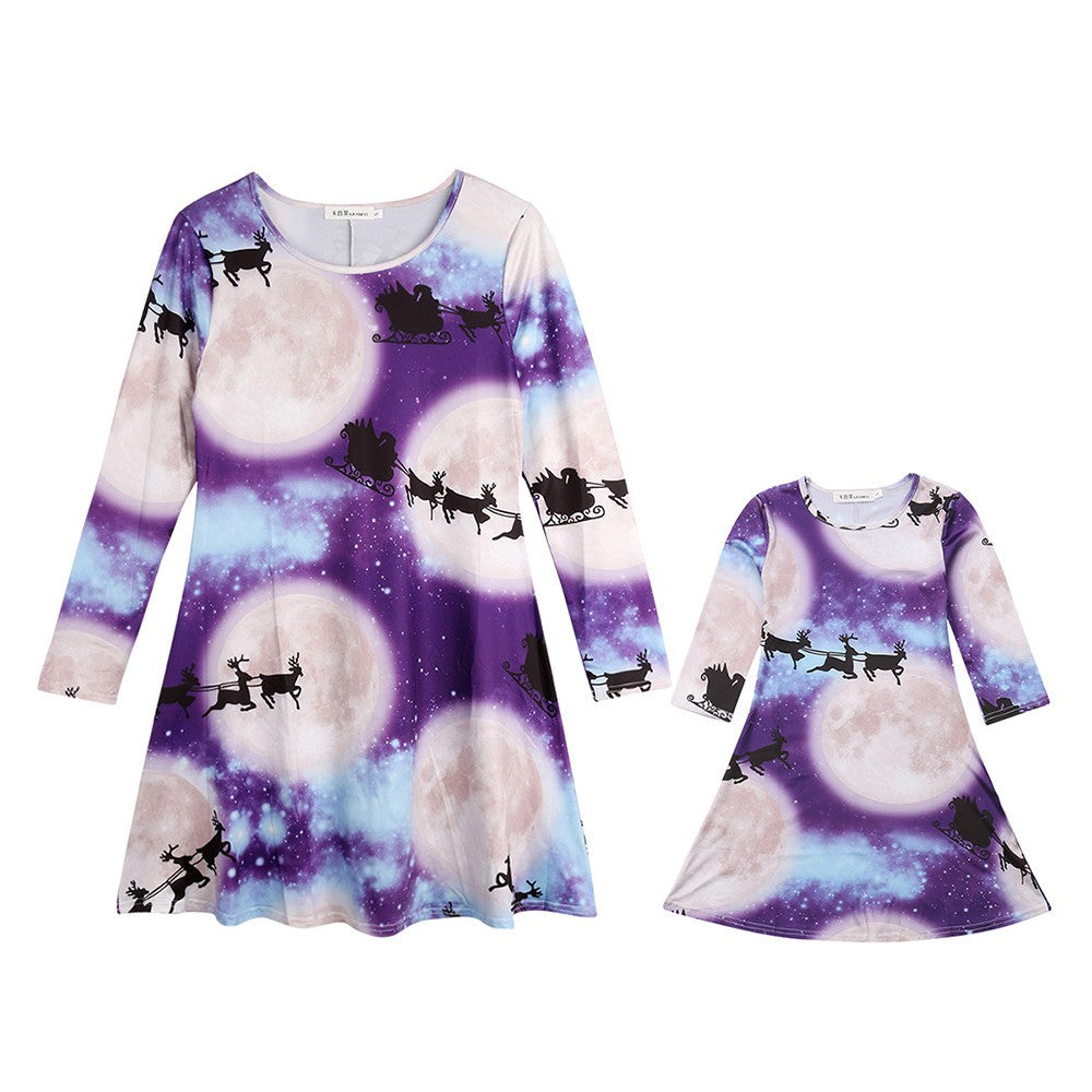 Christmas Mommy & Me Children Kids Girls Cartoon Print Dress Family Clothes