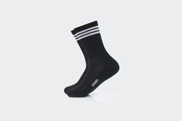 Black 3-Striped Ribbed Crew Socks