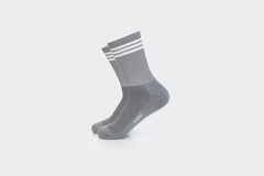 Grey 3-Striped Ribbed Crew Socks
