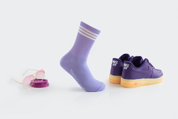 Lavender 3-Striped Ribbed Crew Socks