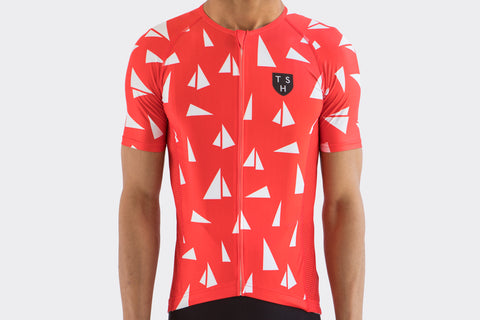 Men's Red Paper Boats Race Fit Jersey