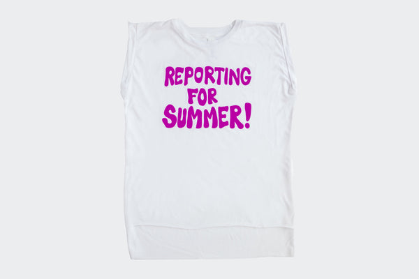 Reporting for Summer White sleeveless Tee