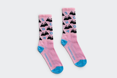 Amelia Strong Pink Mountains Socks (Factory Seconds)