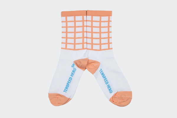 Amelia Strong // TSH Peach Grid Socks