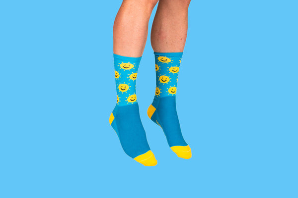 Blue Sunshine Smile Socks