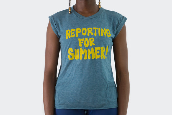 Reporting for Summer Teal Muscle Tee