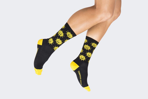 Black Sunshine Smile Socks