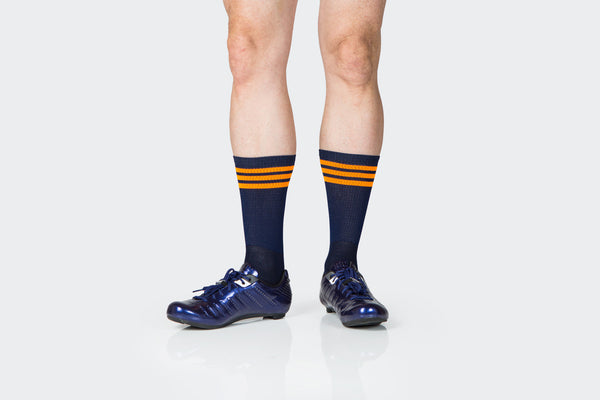 Dark Navy + Orange Striped Adventure Socks