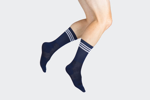 Dark Navy + White Striped Adventure Socks