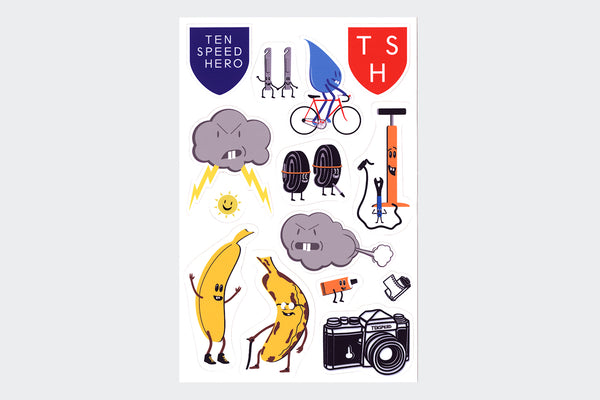 Tenspeed Hero Sticker Sheet (14 Stickers)