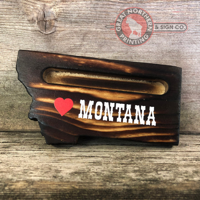 Burnt Wooden Business Card Holders (<3 Montana)