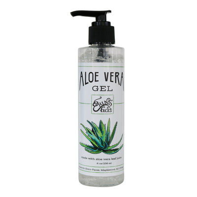 8oz bottle and pump  of the aloe vera gel organic skincare product