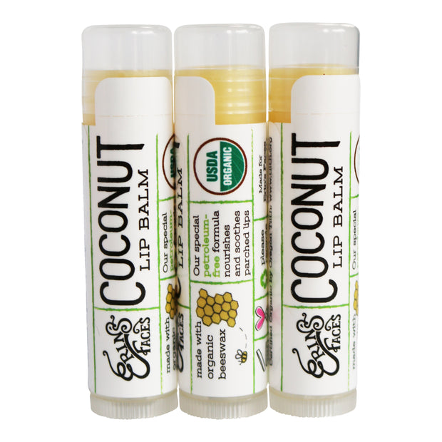 three hydration coconut lip balms as a set