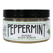 a closed 8oz container of the peppermint sugar body scrub skincare product