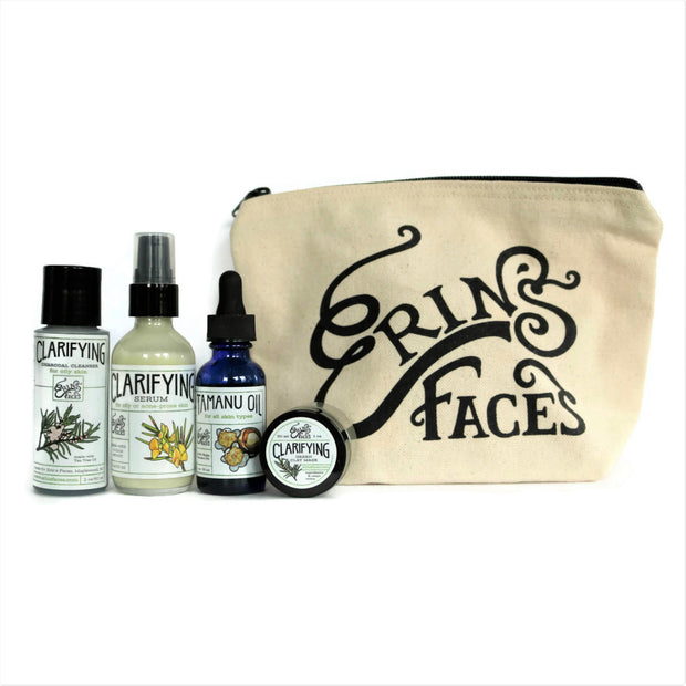 travel size cleanser, serum, oil and clay mask in a cream bag