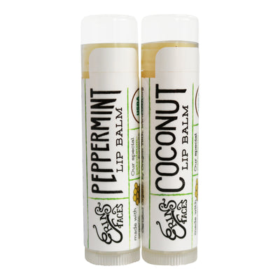 the peppermint and coconut lip balm as a duo