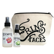 The 4oz rosewater toner and the firming eye gel next to the erin's faces makeup bag