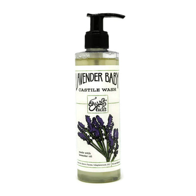 8oz bottle of the lavender baby wash with a pump lid