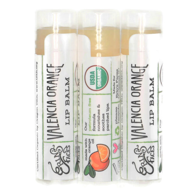 organic skincare valencia orange lib balm set of three