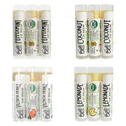 peppermint, coconut, valencia orange, lemonade lip balms each in sets of three