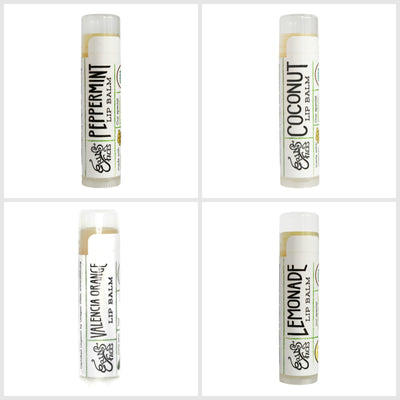 picture of peppermint, coconut, valencia orange and lemonade hydration lip balms