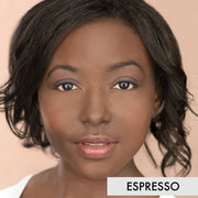woman wearing espresso mineral liquid powder foundation