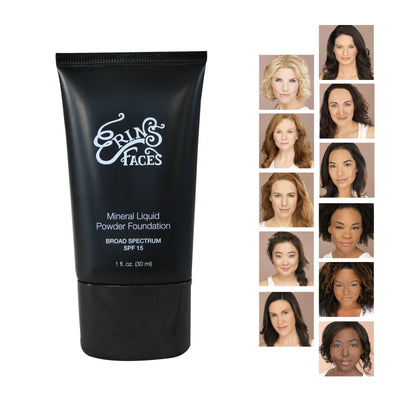 mineral liquid foundation in black tube and pictures of womans faces on the right side