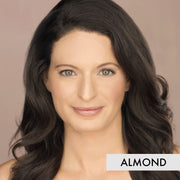 woman wearing the almond liquid powder foundation