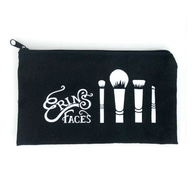 Erin's Faces makeup black and white bag for brushes and other cosmetics