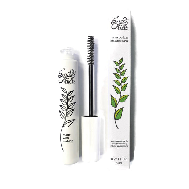 Matcha mascara tube, mascara brush and white box package