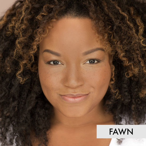 profile of woman wearing the fawn liquid powder foundation makeup
