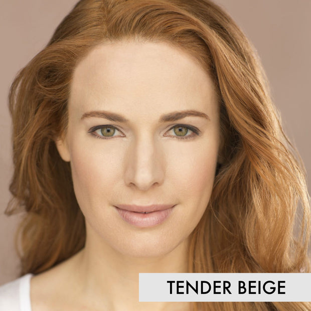 woman wearing the tender beige liquid powder foundation