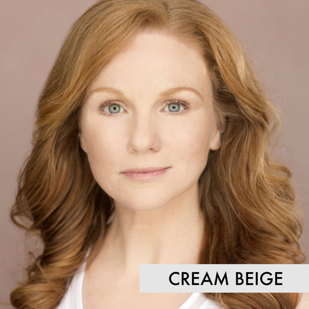 woman wearing liquid foundation makeup in the color cream beige