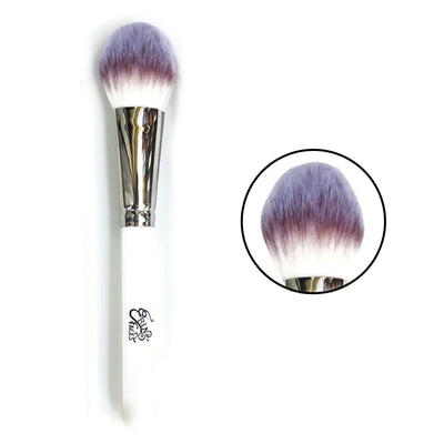 vegan powder brush with magnified picture of the brush tip