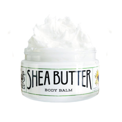 opened 8oz jar of the shea butter body balm moisturizer