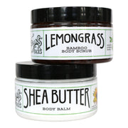 the lemongrass bamboo body scrub exfoliator on top of the shea butter body moisturizer container