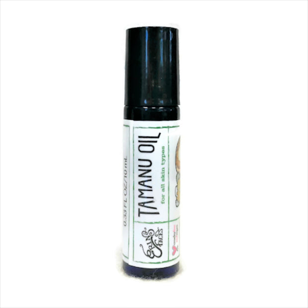 Tamanu Oil in roller ball tube with white label