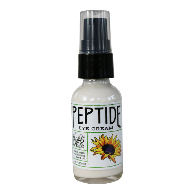 1oz bottle of vegan peptide under eye cream with a pump