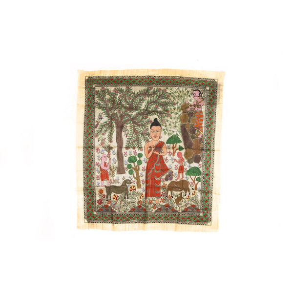 Madhubani Buddha Painting On Silk - All India Imports