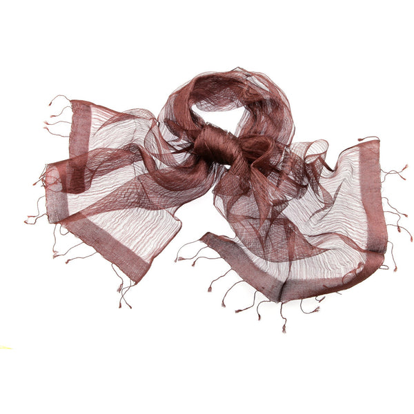 Brown Sheer Silk Scarf|Varanasi|India