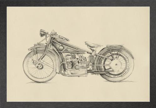 Vintage motorcycle sketch, Art  - Bachelor Haus