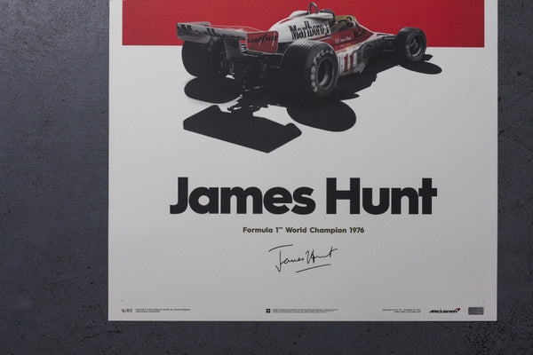 This artwork marks the 40th anniversary of James Hunt's World Championship victory