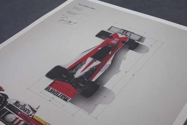 This Limited Edition Print of only 1000 units, and marks the 40th anniversary of James's World Championship victory.