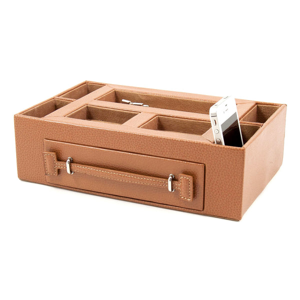 Tan leather valet w/ eye glass holder, Accessories  - Bachelor Haus
