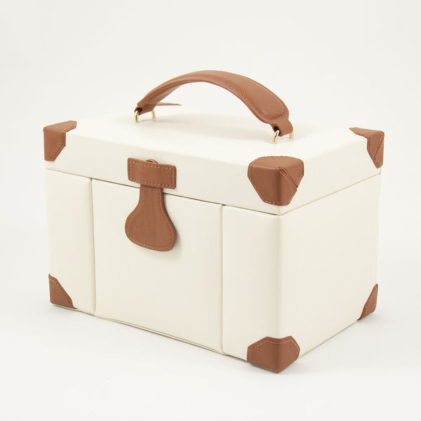 Multi Compartment jewelry box in ivory leather, Accessories  - Bachelor Haus