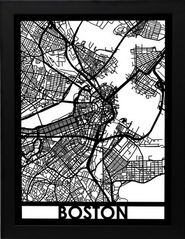 Boston Laser Cut Map, art  - Bachelor Haus