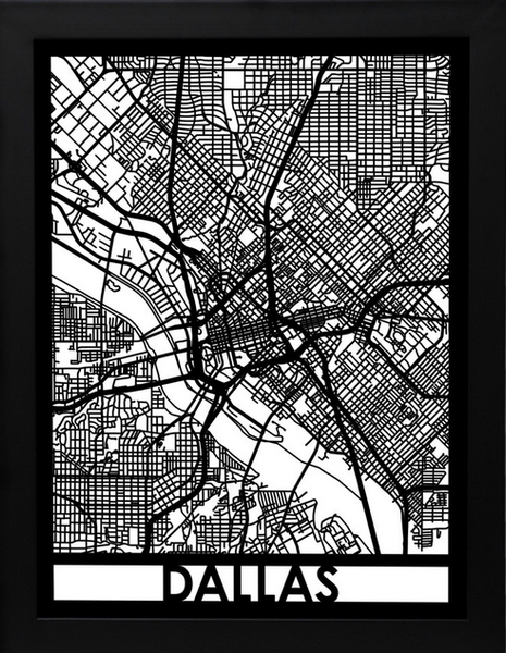 Dallas Laser Cut Map, Art  - Bachelor Haus
